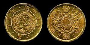 旧2円金貨明治古金銀写真画像