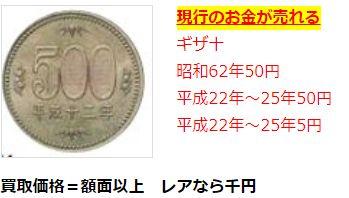 今のお金レアコイン査定額例